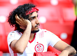 MOSCOW, June 23, 2018  A fan of Tunisia is seen after the 2018 FIFA World Cup Group G match between Belgium and Tunisia in Moscow, Russia, June 23, 2018. Belgium won 5-2. (Credit Image: © Yang Lei/Xinhua via ZUMA Wire)