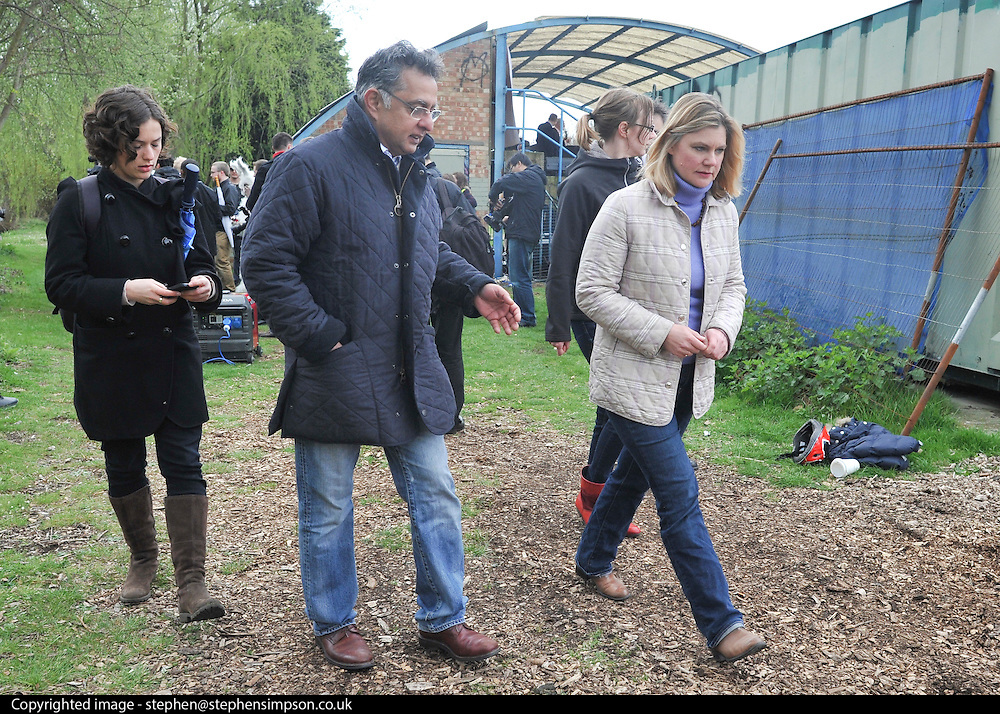 © Licensed to London News Pictures. 27/04/2013. London, UK . Justine Greening, Conservative MP, International Development Secretary, leaves the rally. A rally against Heathrow expansion takes place today 27th April on Barn Elms Playing Field in Barns, West London.  The rally organised by MP Zac Goldsmith included Mayor of London, Boris Johnson, Cabinet Minister Justine Greening, and many other MPs, MEPs, Council Leaders, and campaigners as speakers. Photo credit : Stephen Simpson/LNP