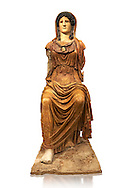 Roman statue of Athena (Roman Minerva) Sitting - from the Augustan period circa 63-43 BC the statue is a copy of a  5th century BC Greek  original, found in a palace on the Via Marmorato off the piazza dell'Emporio, Rome. The statue represents the goddess Minerva, dressed in chiton and himation which covers her head. The face and neck, now lost, have been substituted by a plaster cast of the Athena Carpegna. The aegis with the gorge emblem on her breast have enabled the goddess to be identified as Athena, the Roman Minerva, genially depicted in the guise of a helmeted female warrior. Its remarkable size suggests that this was a cult image, although a hypothesis remains linking it to the temple of Minerva on the Aventine. The sculpture bears the hallmark of a second of the 5th century BC Hellenistic Greek statue  made by Phidias. but uses different materials from the original which would have been in gold and ivory .National Roman Museum, Rome, Italy .<br /> <br /> If you prefer to buy from our ALAMY PHOTO LIBRARY  Collection visit : https://www.alamy.com/portfolio/paul-williams-funkystock/roman-museum-rome-sculpture.html<br /> <br /> Visit our ROMAN ART & HISTORIC SITES PHOTO COLLECTIONS for more photos to download or buy as wall art prints https://funkystock.photoshelter.com/gallery-collection/The-Romans-Art-Artefacts-Antiquities-Historic-Sites-Pictures-Images/C0000r2uLJJo9_s0