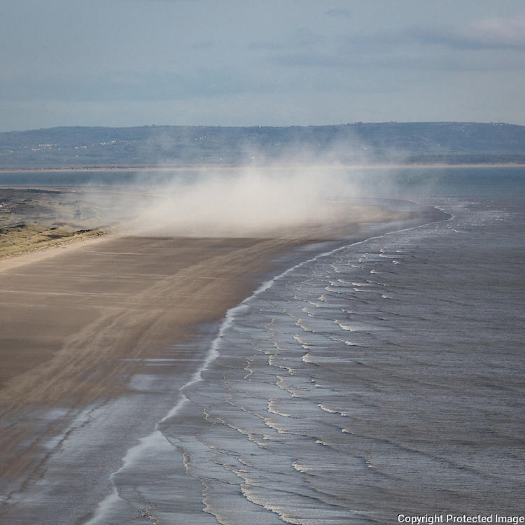 Smoke cloud from the MOD firing range at Pendine Sands, Dyfed.