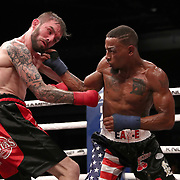 TAMPA, FL - JUNE 22: Reggie Barnett connects to the head of Johnny Bedford during the Bare Knuckle Fighting Championships at Florida State Fairgrounds Entertainment Hall on June 22, 2019 in Tampa, Florida. (Photo by Alex Menendez/Getty Images) *** Local Caption *** Reggie Barnett; Johnny Bedford