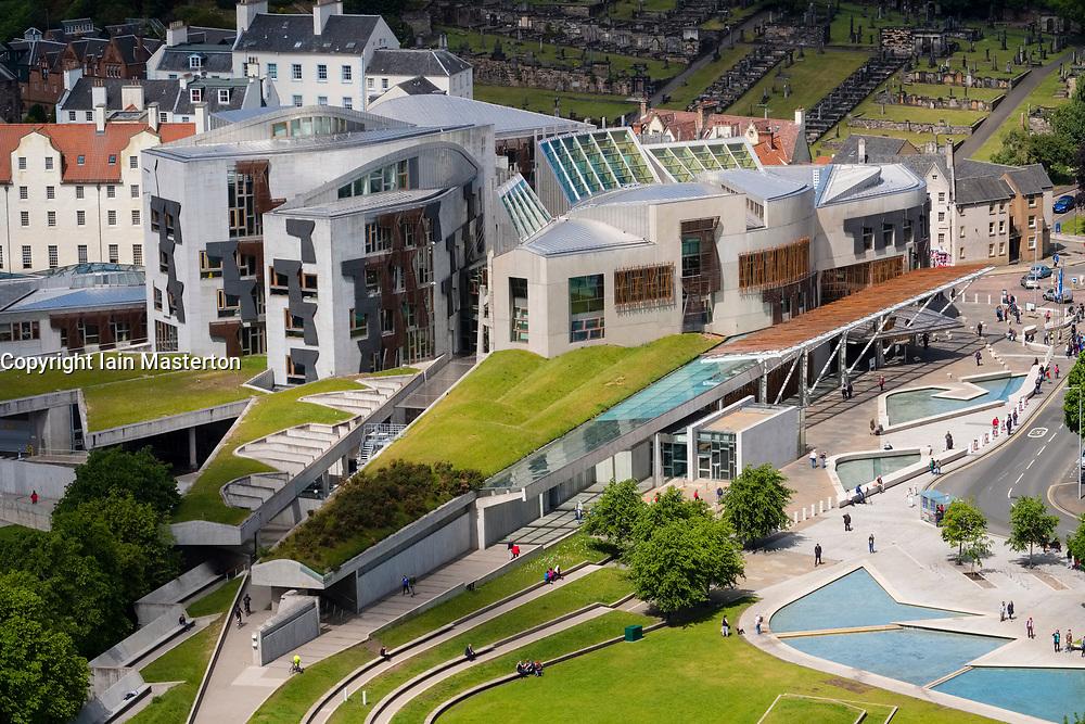 View of exterior of Scottish Parliament building at Holyrood in Edinburgh, Scotland, United Kingdom.