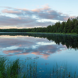 Dawn on Lone Jack Pond in Maine's Northern Forest. Cold Srteam watershed. Johnson Mountain Township.