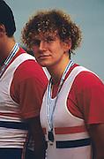 Bled, Slovenia, YUGOSLAVIA. GBR M8+, Jonny SEARLE. 1989 World Rowing Championships, Lake Bled. [Mandatory Credit. Peter Spurrier/Intersport Images]