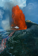 Helicopter, Kilauea Volcano, Hawaii Volcanoes National Park, Island of Hawaii, Hawaii, USA<br />