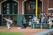 Los Angeles Dodgers starting pitcher Yu Darvish (21) warms up in the bullpen before taking on the San Francisco Giants at AT&T Park in San Francisco, California, on September 13, 2017. (Stan Olszewski/Special to S.F. Examiner)