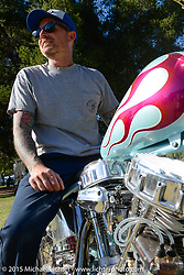 Invited builder Jason Sheets on his custom Harley-Davidson Panhead on Day two of the Born Free Vintage Chopper and Classic Motorcycle Show at the Oak Canyon Ranch in Silverado, CA. USA. Sunday, June 29, 2014.  Photography ©2014 Michael Lichter.