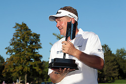 September 16, 2018 - Grand Blanc, Michigan, United States - Paul Broadhurst of England holds up the trophy after winning The Ally Challenge presented by McLaren at Warwick Hills Golf & Country Club in Grand Blanc, MI, USA Sunday, September 16, 2018. (Credit Image: © Jorge Lemus/NurPhoto/ZUMA Press)