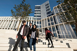 Students on campus of new City of Glasgow College in central Glasgow , Scotland, United Kingdom