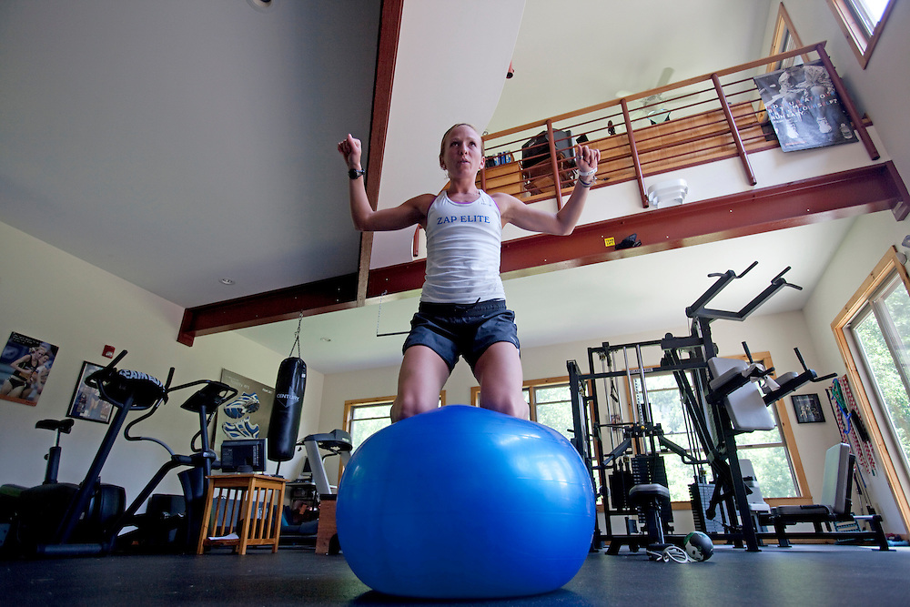 Zap Fitness athlete Esther Erb works on her balance during a workout session at the Zap training facility in Blowing Rock, NC..