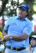 ST. LOUIS, MO - AUGUST 09: Phil Mickelson watches his tee shot on the #11 hole during the first round of the PGA Championship on August 09, 2018, at Bellerive Country Club, St. Louis, MO.  (Photo by Keith Gillett/Icon Sportswire)