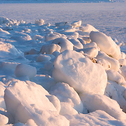 Ice in Mt. Desert Narrows in Maine's Acadia National Park.