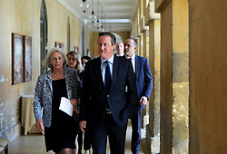 © London News Pictures. 25/09/2015. Blenheim, UK.  British prime minister DAVID CAMEON during a visit to the 2015 The Blenheim Palace Literary Festival  at Blenheim Palace in Oxfordshire. Photo credit: Richard Cave/LNP