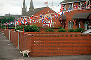 With Loyalist flags and bunting hanging from nearby homes, a dog pees against a property wall in the Protestant estate off the Shankill Road, on 7th June 1995, in Belfast, Northern Ireland UK.