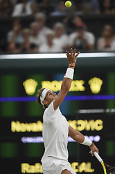 LONDON, July 14, 2018  Rafael Nadal of Spain serves during the men's singles semifinal match against Novak Djokovic of Serbia at the Wimbledon Championships 2018 in London, Britain, on July 13, 2018. The match was suspended due to the time issue. (Credit Image: © Stephen Chung/Xinhua via ZUMA Wire)