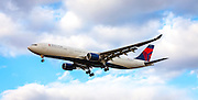An Airbus A330-323, operated by Delta Air Lines, on final approach to Atlanta's Hartsfield-Jackson International Airport.  <br />