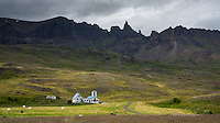 Farm Háls in Öxnadalur valley, North Iceland. Hraundrangar mountains in background.