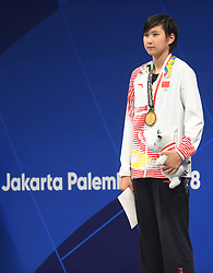 JAKARTA, Aug. 24, 2018  Wang Jianjiahe of China attends the awarding ceremony of women's 400m freestyle final of swimming at the 18th Asian Games in Jakarta, Indonesia, Aug. 24, 2018. Wang won the gold medal. (Credit Image: © Pan Yulong/Xinhua via ZUMA Wire)