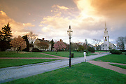 USA, Newport, RI - Springtime view of Trinity Church and Queen Anne's Square park.