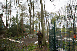 Wendover, UK. 4th May, 2021. Environmental activist Mark Keir monitors tree surgeons working on behalf of HS2 Ltd to clear ancient woodland at Jones Hill Wood in the Chilterns AONB for the HS2 high-speed rail link. Felling of the woodland, which contains resting places and/or breeding sites for pipistrelle, barbastelle, noctule, brown long-eared and natterer's bats and is said to have inspired Roald Dahl's Fantastic Mr Fox, recommenced after a High Court judge refused an application for judicial review and lifted an injunction.