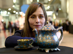 EDITORIAL USE ONLY Actress and Ex Central Saint Martins student Tara Fitzgerald looks at Surabhi Mittal's Paper Mache Tea Set at this yearÕs International Student Innovation Awards at Central Saint Martins, London.