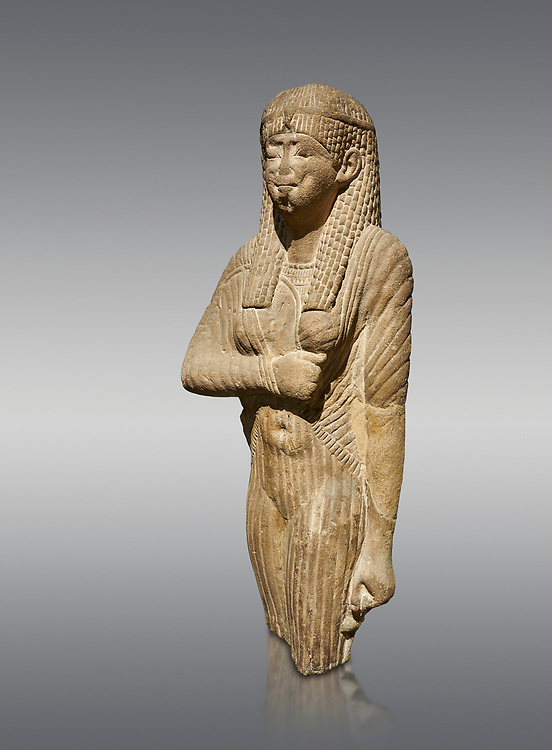 Ancient Egyptian statue of a queen wearing a clinging dress, sandstone, Ptolemaic Period (332-30BC). Egyptian Museum, Turin. Grey background<br /> <br /> Drovetti Collection, Cat 1386 .<br /> <br /> If you prefer to buy from our ALAMY PHOTO LIBRARY  Collection visit : https://www.alamy.com/portfolio/paul-williams-funkystock/ancient-egyptian-art-artefacts.html  . Type -   Turin   - into the LOWER SEARCH WITHIN GALLERY box. Refine search by adding background colour, subject etc<br /> <br /> Visit our ANCIENT WORLD PHOTO COLLECTIONS for more photos to download or buy as wall art prints https://funkystock.photoshelter.com/gallery-collection/Ancient-World-Art-Antiquities-Historic-Sites-Pictures-Images-of/C00006u26yqSkDOM