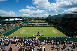 30.06.2012, Wimbledon, London, ENG, ATP World Tour, The Championships Wimbledon, im Bild Kenneth Skupski and Jamie Delgado (GBR) take on the Bryan brothers during the Gentlemen's Doubles 2nd Round match during day six of the ATP world Tour Wimbledon Lawn Tennis Championships at the All England Lawn Tennis and Croquet Club, London, Great Britain on 2012/06/30. EXPA Pictures © 2012, PhotoCredit: EXPA/ Propagandaphoto/ David Rawcliff..***** ATTENTION - OUT OF ENG, GBR, UK *****
