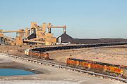 Coal trains leaving and arriving the Springerville Generating Station in Springerville, Arizona.