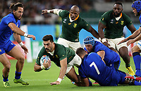 Rugby Union - 2019 Rugby World Cup - Pool B: South Africa vs. italy <br /> <br /> Damian de Allende of South Africa and Jake Polledri of Italy at Shizouka Stadium Ecopa.<br /> <br /> COLORSPORT/LYNNE CAMERON