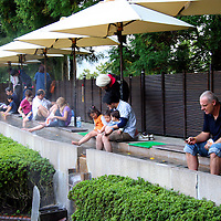 Asia, Japan, Hakone. Hakone Open Air Museum. The Footbath Spa, fed by natural hot springs water.