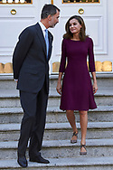 King Felipe VI of Spain, Queen Letizia of Spain attended an official lunch at Palacio de la Zarzuela on November 6, 2017 in Madrid, Spain.