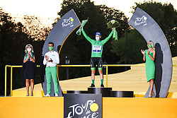 Deceuninck Quick step's rider Sam Benett winner of the stage 21 and green jersey, on the final podium of the Tour de France 2020, on Champs Elysees Avenue in Paris, on September 20, 2020. / Sportida