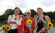 2006, FISA Juniors, Bosbaan, Amsterdam, THE NETHERLANDS, Saturday, [Finals Day].  05.08.2006.   [left] Silver Medallist GER JW1X Juliane DOMSCHEID, [middle] Gold Medallist, POL JW1X, Natalia MADAJ, [right], Bronze medallist USA JW1X, Linsay MEYER, Peter Spurrier/Intersport Images, email images@intersport-images.com[Mandatory Credit Peter Spurrier/ Intersport Images] Rowing Course: Bosbaan Rowing Course, Amsterdam, NETHERLANDS