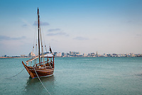 Traditional Arabic Dhow Boat in the Doha Bay in Qatar