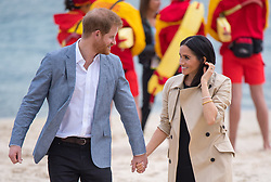 The Duke and Duchess of Sussex walk on South Melbourne Beach during their visit to Melbourne, on the third day of the royal couple's visit to Australia.