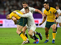 Rugby Union - 2019 Rugby World Cup - Quarter-Final: England vs. Australia<br /> <br /> Australia's Reece Hodge is tackled by England's Elliot Daly, at Oita Stadium, Oita Prefecture.<br /> <br /> COLORSPORT/ASHLEY WESTERN