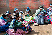 Bolivia June 2013. Cajamarca. Meeting with women who knit as they talk.