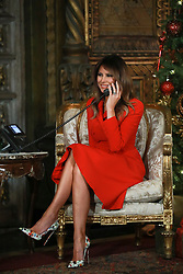 December 24, 2017 - Florida, U.S. - First Lady Melania Trump participated in NORAD Santa Tracker phone calls with President Donald Trump from Mar-a-Lago in Palm Beach Sunday afternoon, December 24, 2017. (Credit Image: © Bruce R. Bennett/The Palm Beach Post via ZUMA Wire)