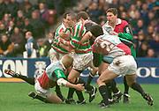 1997 Heineken European Cup, Quins vs Leicester Tigers, Stoop, 18-4-98 Quins Full back, Scott Stewart, gets in low,  [Mandatory Credit: Peter Spurrier/Intersport Images].