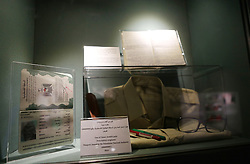 November 9, 2016 - Ramallah, West Bank, Palestinian Territory - A picture shows Yasser Arafat's Prescription eyeglasses and Passport, issued by the Palestinian National Authority (000000001) at the late Palestinian leader Yasser Arafat's Museum in the West Bank city of Ramallah on November 9, 2016. The Yasser Arafat Museum opened in Ramallah, shedding light on the long-time Palestinian leader's life and offering a glimpse of history -- along with a number of his trademark black-and-white keffiyehs  (Credit Image: © Shadi Hatem/APA Images via ZUMA Wire)