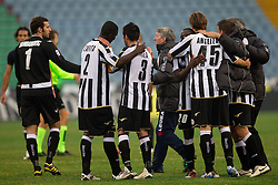 Samir Handanovic, Zapata, Isla, Angella of Udinese celebrate after the football match between Udinese Calcio and Palermo in 8th Round of Italian Seria A league, on October 24, 2010 at Stadium Friuli, Udine, Italy.  Udinese defeated Palermo 2 - 1. (Photo By Vid Ponikvar / Sportida.com)
