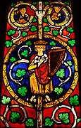 Tree of Jesse Window:  The Reclining Jesse, King David and Scenes from the Life of Jesus.  Pot-metal glass, vitreous paint and lead.  German, Swabia.  Painted 1280-1300.  The book of Isaiah presents Jesse, an ancestor of Jesus, as the root of a great tree