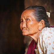 The face of expereince, lady in a temple, Bagan
