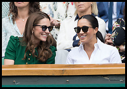 July 13, 2019 - London, London, United Kingdom - Image licensed to i-Images Picture Agency. 13/07/2019. London, United Kingdom. Kate Middleton, the Duchess of Cambridge and Meghan Markle, the Duchess of Sussex   in the Royal Box for the Ladies Final on day twelve of the Wimbledon Tennis Championships in London. (Credit Image: © Stephen Lock/i-Images via ZUMA Press)