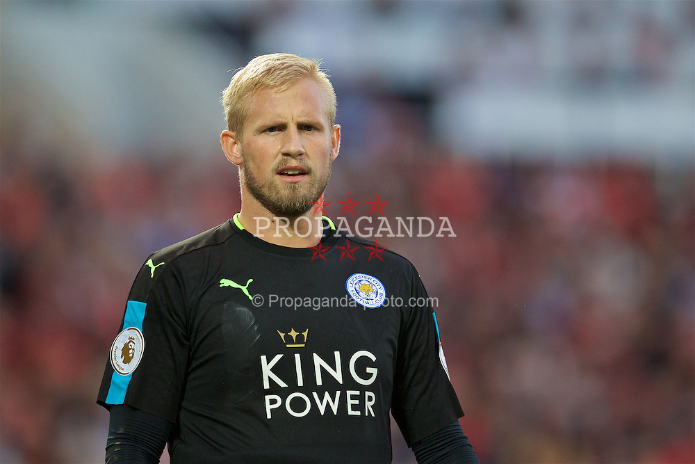 LIVERPOOL, ENGLAND - Saturday, September 10, 2016: Leicester City's goalkeeper Kasper Schmeichel in action against Liverpool during the FA Premier League match at Anfield. (Pic by David Rawcliffe/Propaganda)