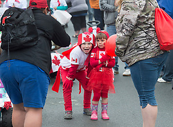 Participants wait for the start of the Canada 150 children's parade in Lockeport, N.S., population 531, on Saturday, July 1, 2017. Lockeport is a traditional Nova Scotia fishing town on the province's South Shore and was founded in 1762. Photo by Andrew Vaughan/CP/ABACAPRESS.COM