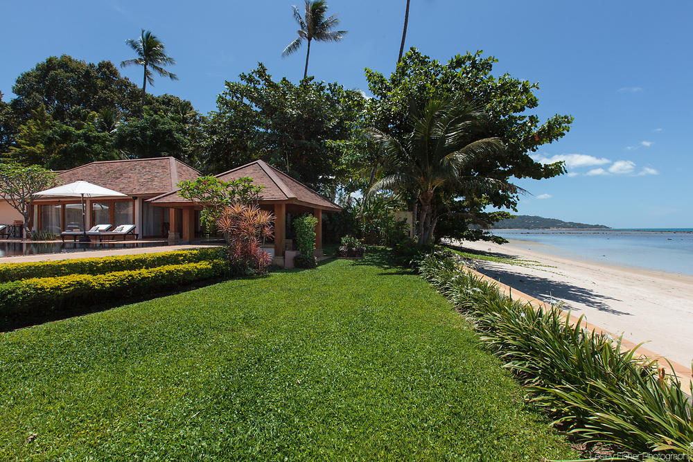 Beach front of Baan Wanora, a luxury, private, beach front villa located in Laem Sor, Koh Samui, Thailand