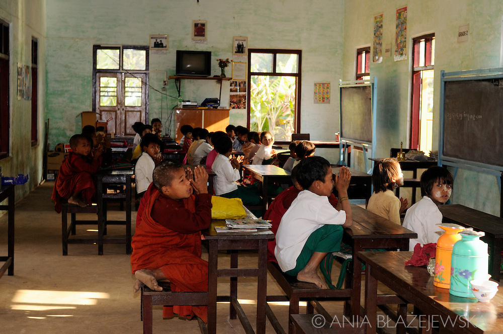 Myanmar/Burma. Children learning at school situated in the Shan Mountains.