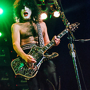 PHILADELPHIA - OCTOBER 8: Kiss guitarist Paul Stanley performs at the CoreStates Center on October 8, 1996, in Philadelphia, Pennsylvania. (Photo by Lisa Lake/Getty Images)