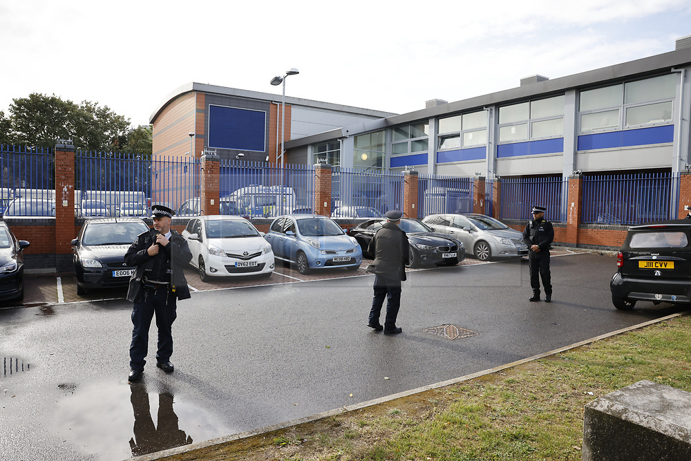 © Licensed to London News Pictures. 25/09/2020. Croydon, UK. The scene at Croydon Custody Centre in South London, where a police officer was shot dead in the early hours of this morning. A murder investigation has been launched. Photo credit: Peter Macdiarmid/LNP
